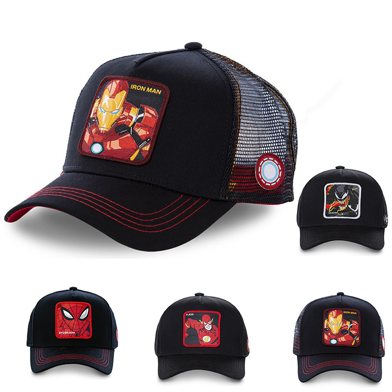 High Quality Fashion Embrodered Net Cap Couple Super Fire Marvel Series Baseball Caps Outdoor Adjustable Hip Hop Hat Casual Hats