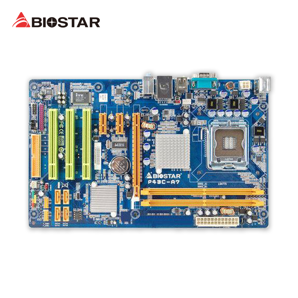 BIOSTAR P43C-A7 Original Used Desktop Motherboard P43 LGA 775 DDR2 8G SATA2 USB2.0 ATX a suit of delicate pearl rhinestone leaf necklace and earrings for women