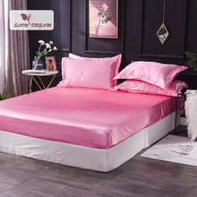Slowdream 1 Piece Wholesale Luxury 100% Silk Pink Fitted Sheet Elastic Band Mattress Cover Queen King Bed Sheets For Women Men slowdream 1 piece wholesale luxury 100% silk fitted sheet elastic band mattress cover queen king bed sheets for women men