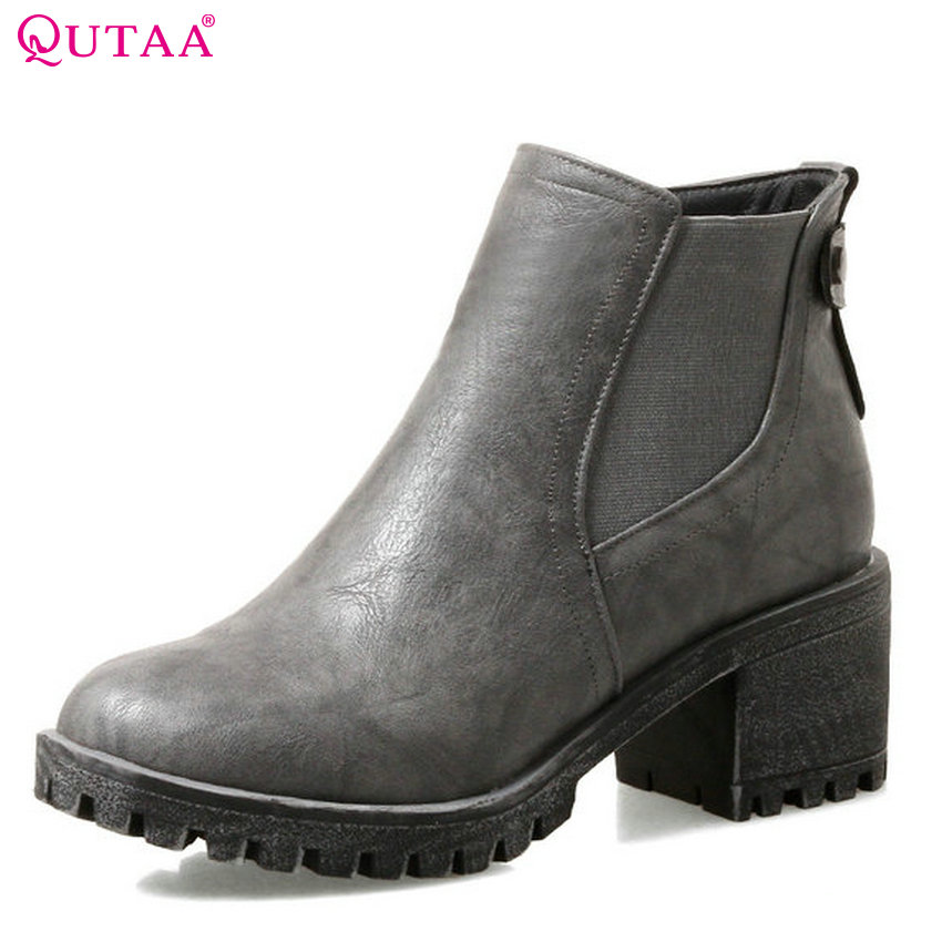 QUTAA 2018 New Women Ankle Boots Fashion Zipper Round Toe Pu Leather Westrn Style All Match Soild Grey Wome Boots Size 33-43 irst layer of cowhide handsome female ankle boots fashion boots pull style all match elegant 6 8 5