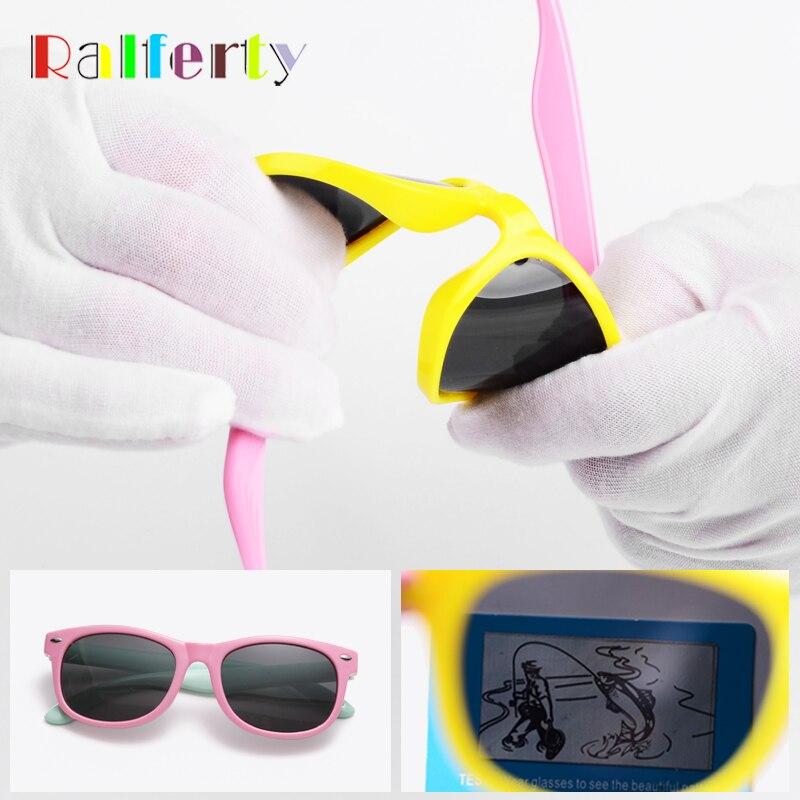e75288e442b8e Ralferty Crianças Óculos Polarizados (5% de DESCONTO PARA QUALQUER 2) TR90  Flexível Quadro UV400 Rosa Bebê Da Menina do Menino Crianças Óculos de Sol  ...