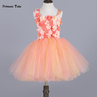 Peach Gold Girl Tutu Dress Tulle Princess Dress Kids Pageant Ball Gown Cute Baby Girl Party Birthday Wedding Flower Girl Dresses