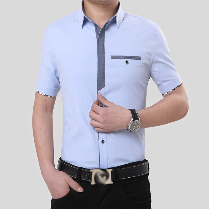 53ce7255 2016 New Brand Mens Dress Shirts Short Sleeve Casual Men Slim Fit Brand Design  Formal Tops&Blouse Camisa Social chemise homme