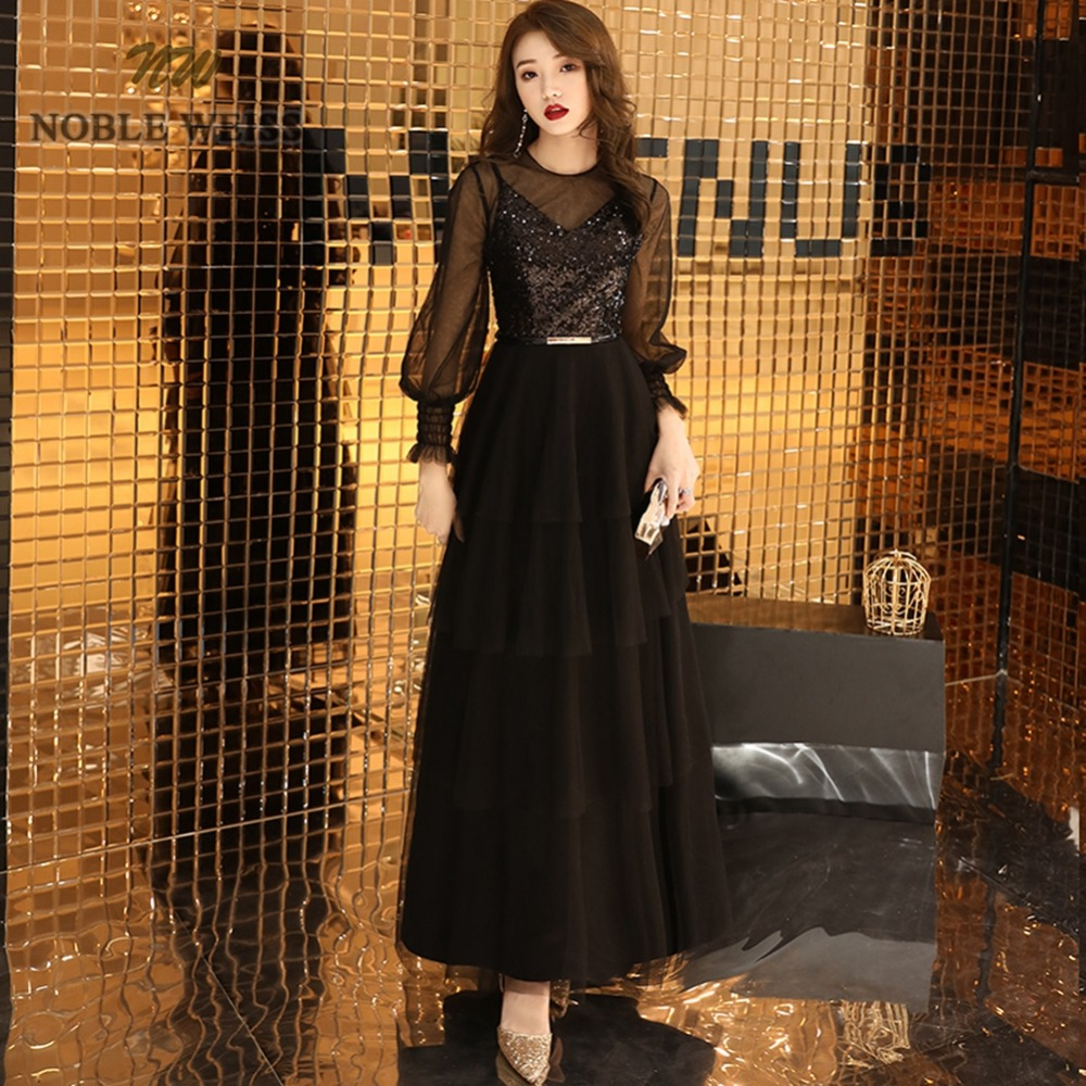 prom dresses o-neck black tulle vestidos de festa ankle-length prom gown sexy sequin party dresses with 3/4 sleeves