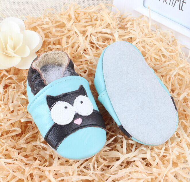 2016 New Owl Genuine Leather Baby Moccasins soft Baby Shoes First Walker newborn shoes