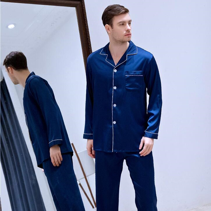 Men's Ice Silk Satin Plus Size Satin Leisure Sleepwear Long Sleeved Suits Home Clothes All Seasons Students Youth Nightgown J024