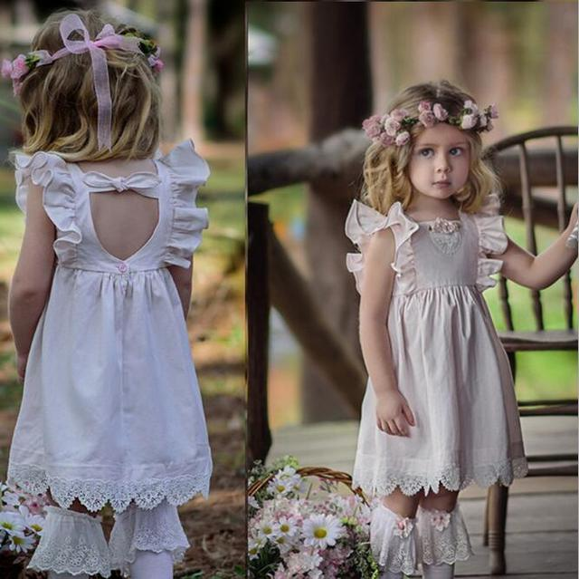fe26a90a80 wholesale fairy baby girl princess puff sleeve lace hemming dress children  girl flower cotton and linen