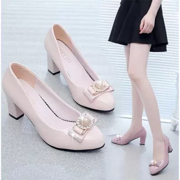 women pumps middle heels women shoes autumn scarpe donna pointed Bowknot  party Office Ladies shoes Fashion cdfa93bd4527