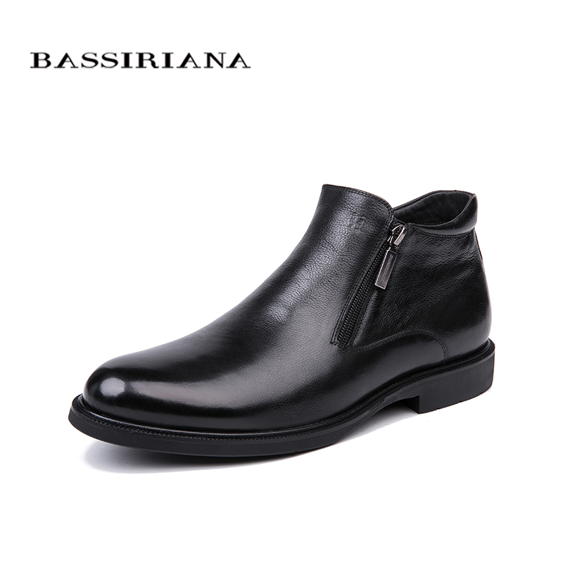 BASSIRIANA Winter New Classic Luxury Genuine Leather Warm Genuine Leather Casual Black Ankle Boots For Male