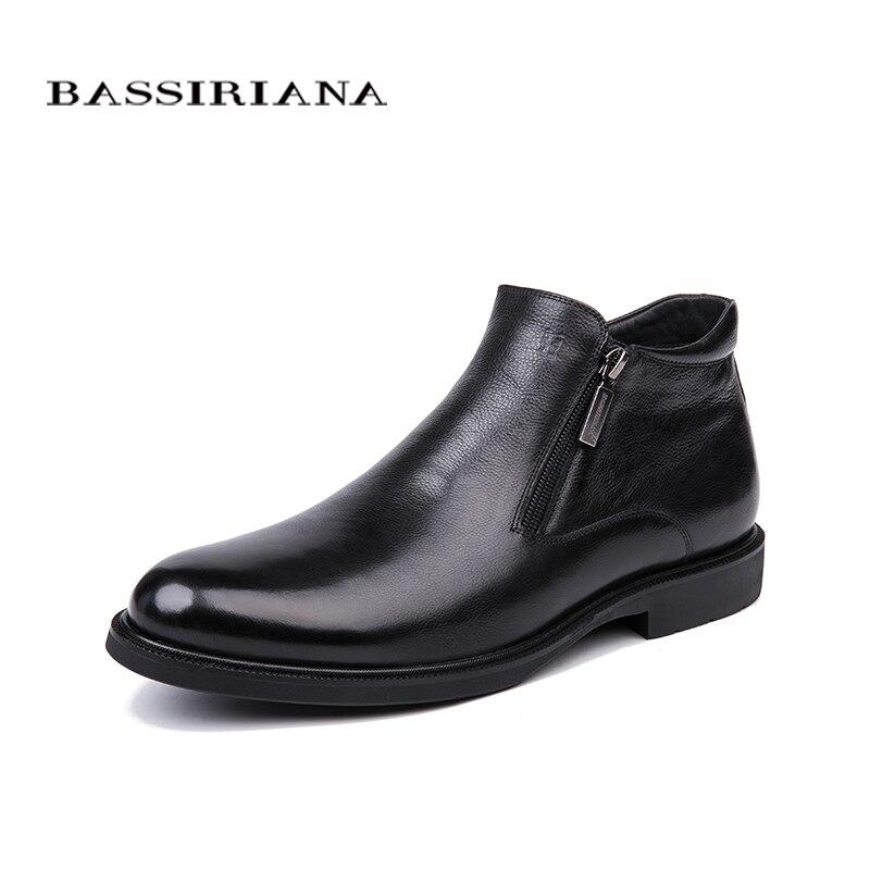 BASSIRIANA ฤดูหนาวใหม่คลาสสิกของแท้หนังของแท้หนังสีดำข้อเท้ารองเท้าสำหรับชายรองเท้าธุรกิจ-ใน รองเท้าทางการ จาก รองเท้า บน   1