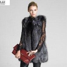 LZJ Women's Vest Hooded Cap Fur Fashion Luxury Thick Warm Vest Faux Fox Hair Down Coat Jacket Solid Color Fur Vests Women Coats