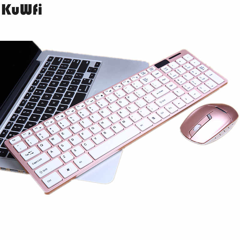 2.4G Wireless Keyboard dengan Mouse Combo Optical 1600 DPI Ultra-Thin Keyboard Set untuk Desktop PC Laptop Win7 /8 Android TV BOX 1Set
