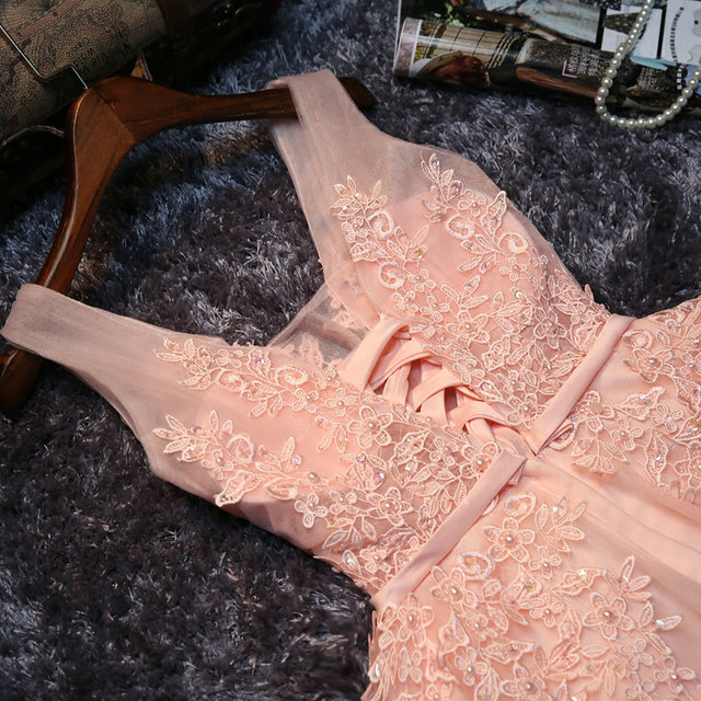 Elegant Pearl Pink Prom Dresses 2019 Sexy Prom Dress Short V Neck Appliques Beading Lace Up Knee-Length Graduation Party Gowns 4