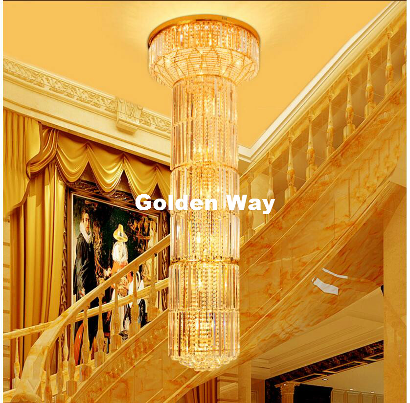 D600mm H2000mm Golden Modern Hotel Crystal Chandelier Pendant Lamp E14 LED Hotel Chandelier AC 100% Guaranteed Free Shipping modern pendant crystal chandelier 110v 220v 28w pure white 71 60cm free shipping
