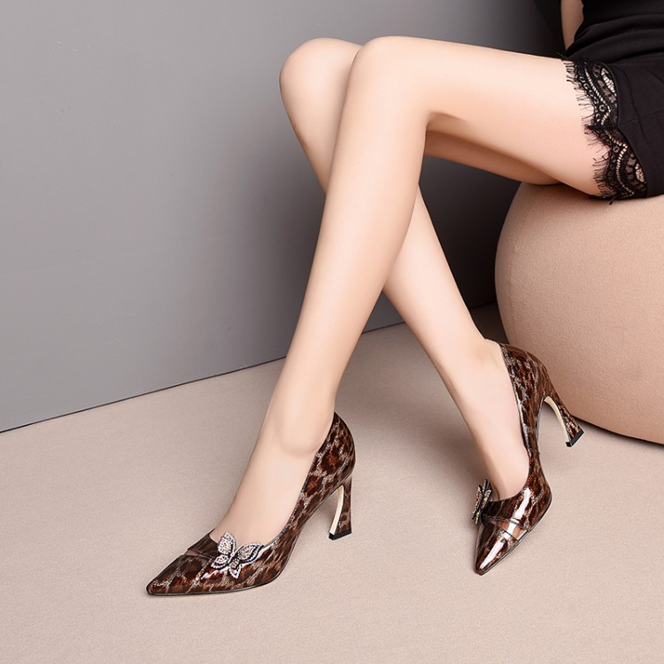 MLJUESE 2019 women pumps autumn spring Cow leather spike heel brown color bow tied high heels