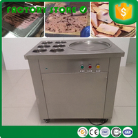Soft round flat pan fried fry ice cream machine roll pan with six hoppers 110volts