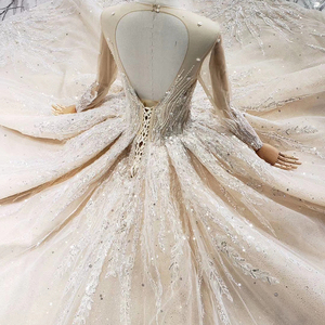 Image 4 - HTL462 princess ball gown wedding dresses long sleeve o neck appliques champagne lace wedding gowns with wedding veil mariage