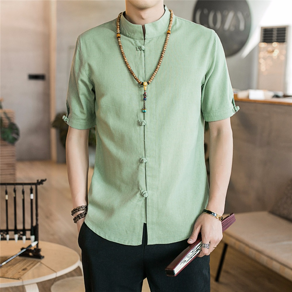 Cotton Linen Short Sleeve Shirt Men Stand Collar Casual Shirt Male