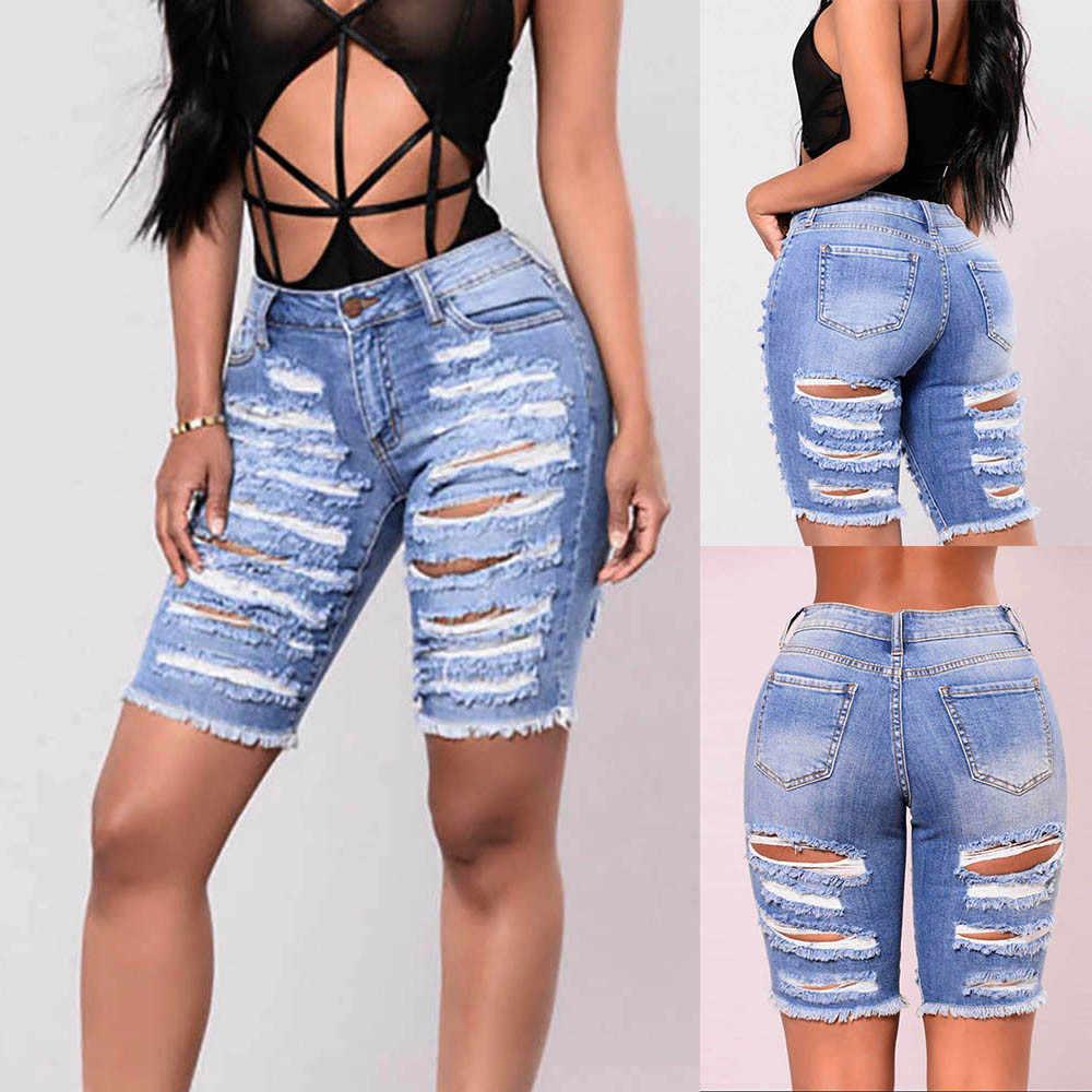 Для женщин тонкий ткани с потертостями и разрезами, комбинезон с дырками штаны Женская короткая мини-юбка рваные джинсы Шорты для Для женщин пикантные джинсовые штаны Шорты 41 # G8