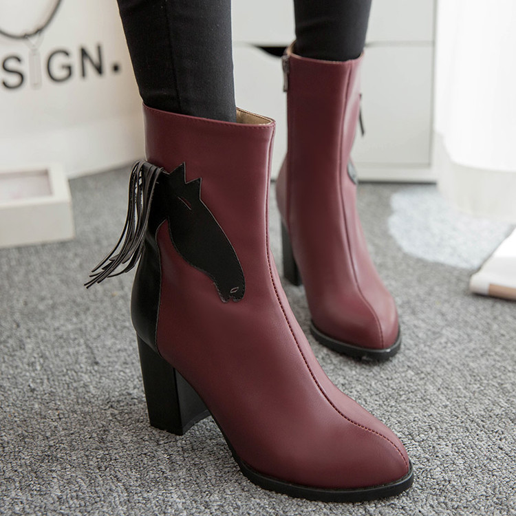 Mujer Schuhe 3 Stil Zapatos Frauen neue Femininas 2017 Frau C Stiefeletten Masculina SchwarzRotWei Botas Botines Schuh Winter vmn0wN8