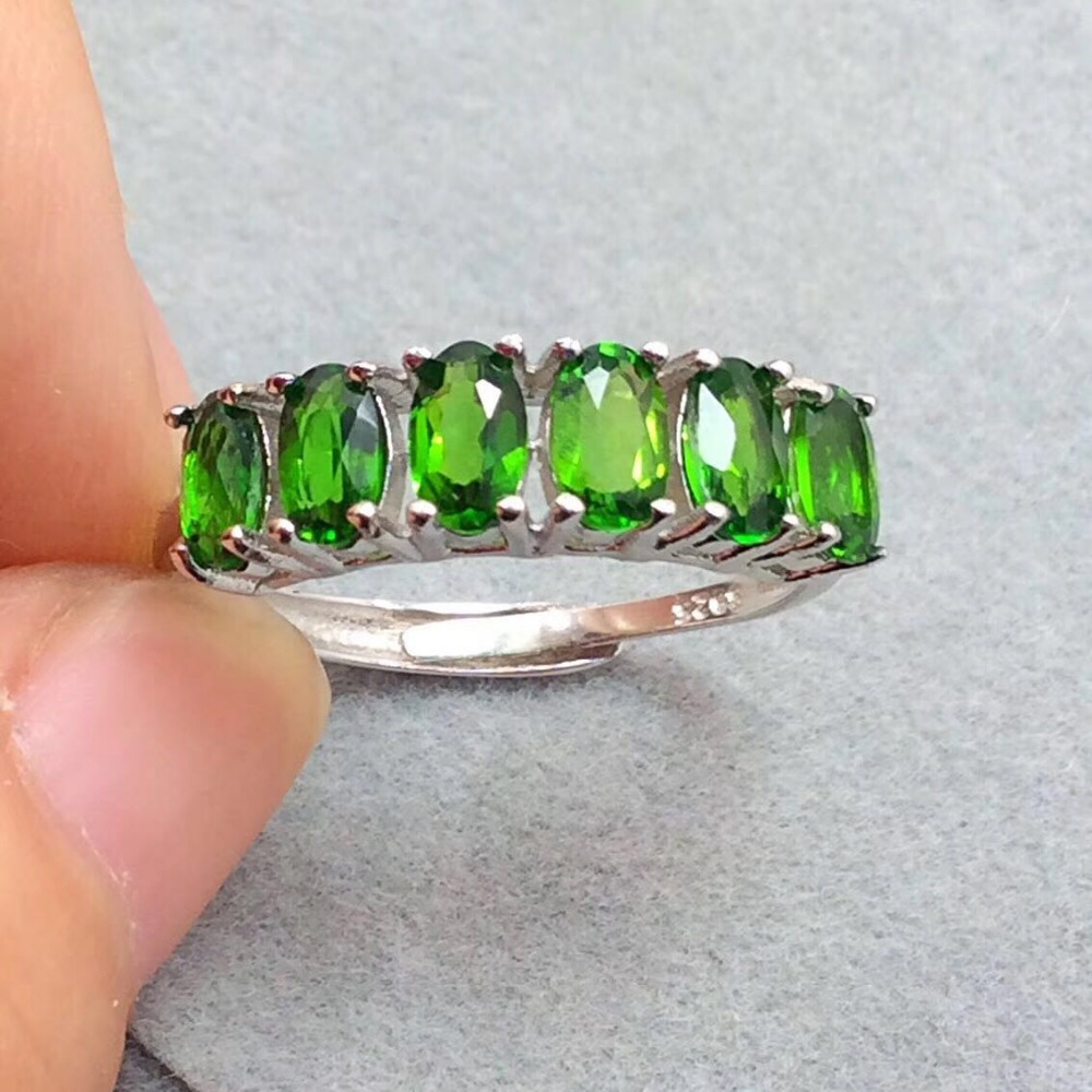 natural diopside ring 925 silver green gemstone variable classic women party Natural Diopside jewelry