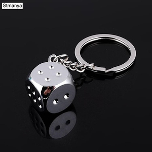 New Dice Key Chain Metal Personality Dice Poker Soccer Guitar Model Alloy Keychain Gift Car Key Ring 17045(China)
