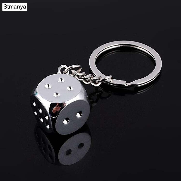 New Dice Key Chain Metal Personality Dice Poker Soccer Guitar  Model Alloy Keychain Gift Car Key Ring 17045