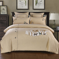 4/6Pcs Egypt Cotton The Elk luxury Bedding Set embroidery Retro button Duvet cover set Bed Sheet Pillowcases Queen King size