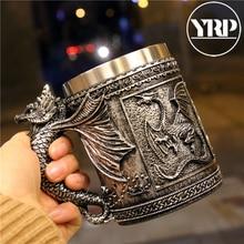 YRP Stainless Steel Skull Mug Tankard Horror Decor Cup Coffee Tea For Halloween Bar Drinkware Party Mens Gifts