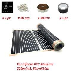 15m2 Far Infared нагревательная пленка для подпольного отопления 220 Вт/м2 50 см X 30 м PTC теплая подстилка комплекты с Wi-Fi термостатом