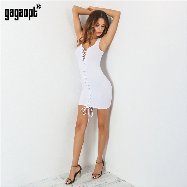 Gagaopt Summer Dresses Women Strap Beach Dress Black/White Sexy Lace Up Party Dresses Vestidos Robe Femme ete 2017