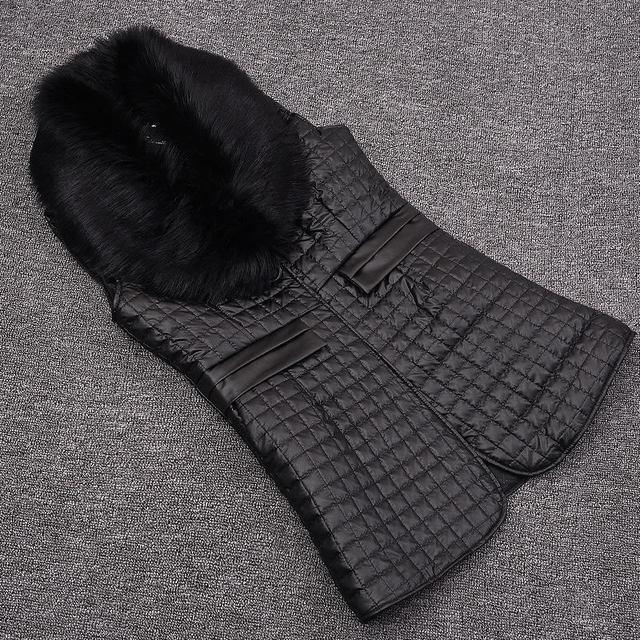 Nuevas mujeres de invierno de la Tela Escocesa de LA PU de cuero cosido Abrigo de imitación zorro chaleco de piel de zorro chaqueta de cuello Elegante mujeres de gran tamaño salvaje S-5XL
