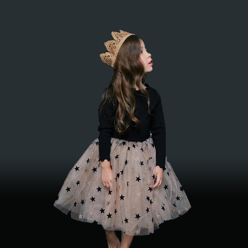 2019 Spring Stars Print Children Girls Clothes For Girls Tutu Dress Kids Girls Party Wear Clothing Ball Gown 1-6Y