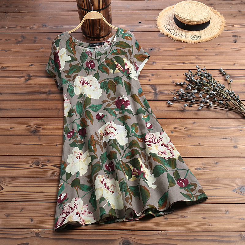 ZANZEA Women Summer Short Sleeve Cotton Linen Dress Vestido Robe Kaftan Femme Vintage V neck Floral Printed Party Sundress 5XL 12