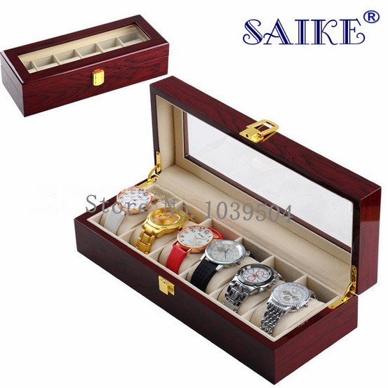 New 6 Grids Watch Display Box Red High Light Lacquer MDF Brand Watches Box Fashion Watch Case 6 Storage Gift Box With Lock D026