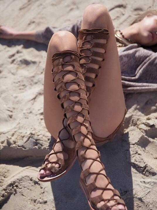 Sexy Summer Suede Leather Over The Knee Sandal Boot Peep Toe Cut-out Flat Strappy Sandals Big Size 11 Gladiator Sandals Boots