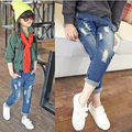 20 Baby Girl Ripped Blue Jeans Spring Autumn Girls Pants Children's Clothing Korean Style Children Loose-Fitting Pants *