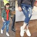 20 Baby Girl calças de ganga rasgada calças primavera outono meninas das crianças roupas crianças estilo coreano solto - montagem calças *