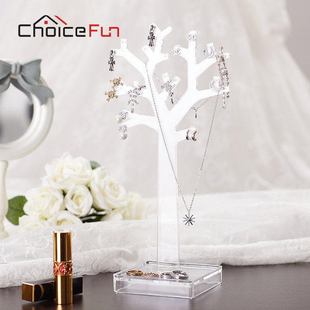 CHOICE FUN New Arrival 3 Color Fashion Storage Rack Necklace Bracelet Jewelry Display Box Cute Small Tree For Storage SF-84017