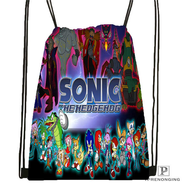Custom Sonic-and-friends Drawstring Backpack Bag Cute Daypack Kids Satchel (Black Back) 31x40cm#2018612-01-2