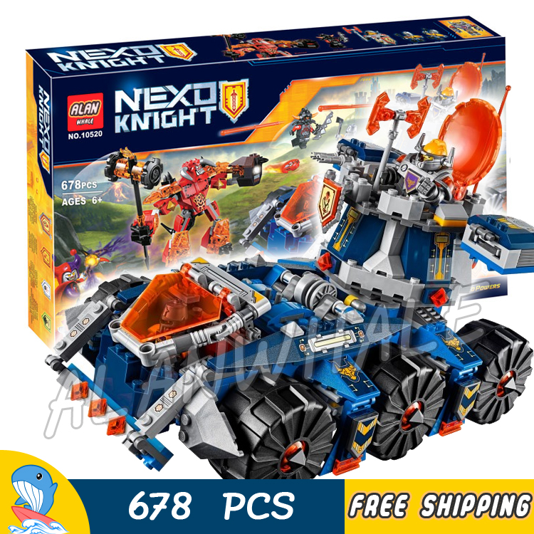 678pcs Knights Axl's Tower Carrier Chariot War Wagon 10520 Model Building Blocks Children Bricks Nexus Toys Compatible With Lego lepin 14004 knights beast master chaos chariot building bricks blocks set kids toys compatible 70314 nexus knights 334pcs set