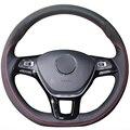 XuJi Black Genuine Leather Suede Car Steering Wheel Cover for Volkswagen VW Golf 7 Mk7 New Polo Jetta Passat B8 Tiguan Sharan