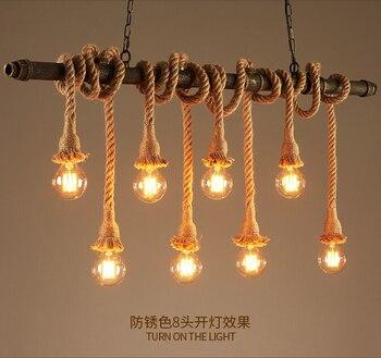 Retro Water Pipe Lamp Vintage Pendant Light Hemp Rope Loft Industrial Lighting Bar Cafe Light Fixtures