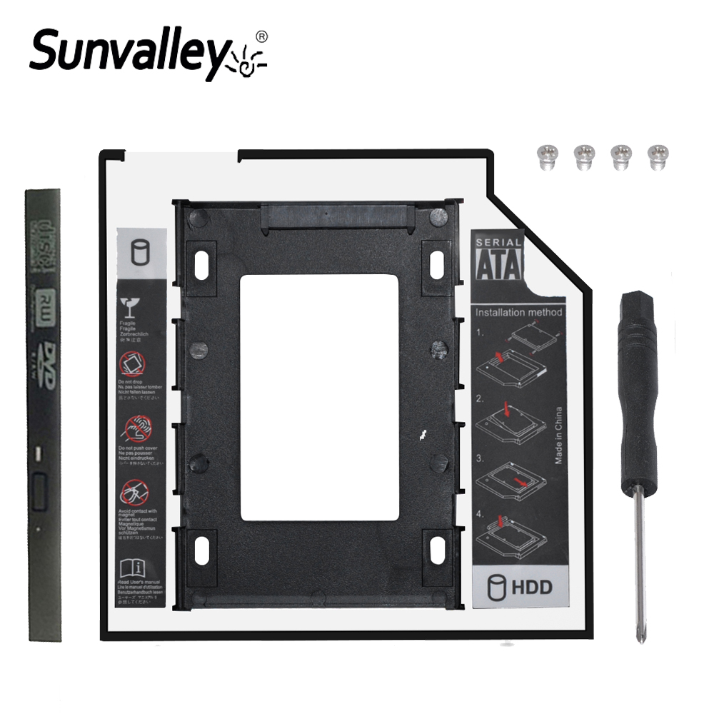 "Sunvalley Optibay 2nd HDD Caddy 9.5mm Aluminum Universal SATA 3.0 2.5"" SSD Case Hard Disk Adapter DVD HDD For Laptop ODD"