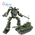 Tanque militar ladrillos robot transformación bloque 2 en 1 bloque de construcción para niños juguetes educativos diy vehículo brinquedo mini bloque