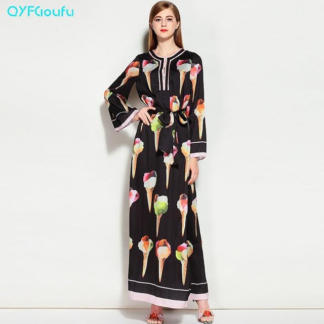 plus size runway 2017 designer long gown dress ice cream print