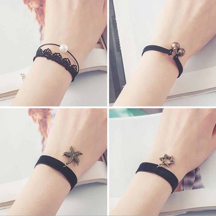 Free shipping wholessale Vintage imitation pearl sun black lace cute bracelets & bangles handmade accessories jewelry bracelets