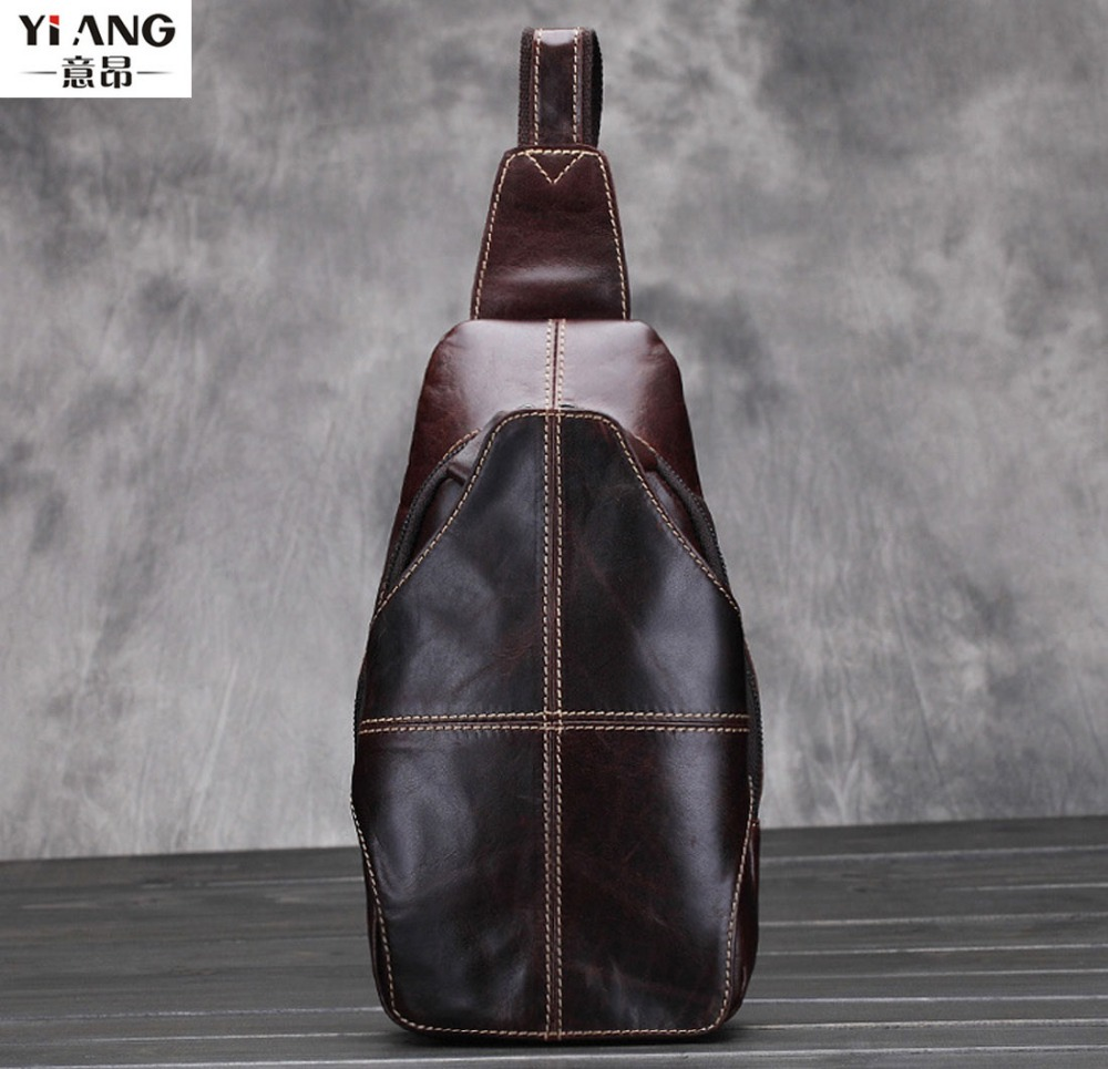 New Men Oil Wax Genuine Leather First Layer Cowhide Sling Chest Back Pack Travel Riding Sling Cross Body Messenger Shoulder Bag men s genuine leather belt buckle back pack shoulder messenger unbalance sling chest bag
