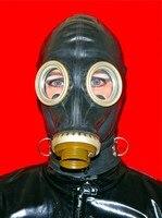 FULL LATEX RUBBER GASMASK Suffocation Fetish Cosplay Mask Head Hood