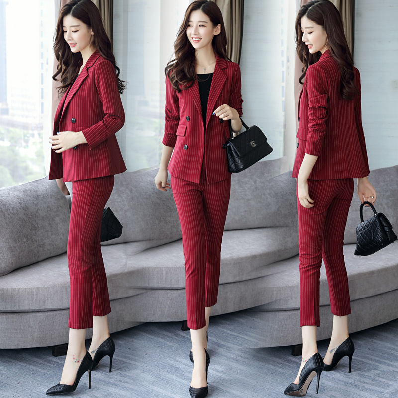 Set Female 2019 Autumn New Fashion Double-Breasted Small Suit + Casual Slim Nine Pants Striped Two-Piece Trend Elegant